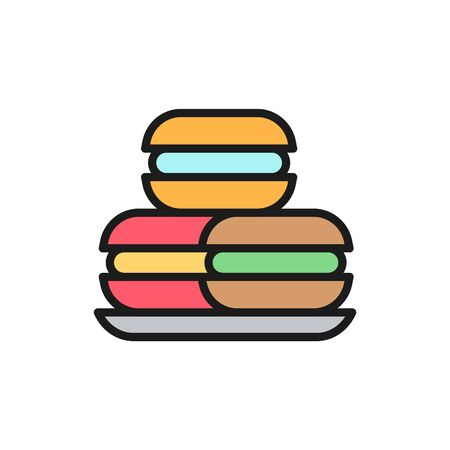 Macaroons, macarons, cakes, sweet bakery flat color line icon.