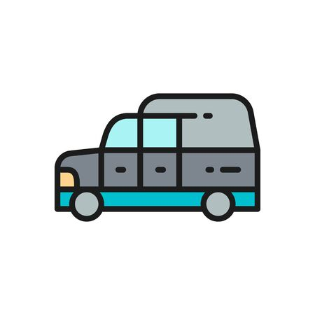 Hearse, funeral car flat color line icon. Isolated on white background Ilustrace