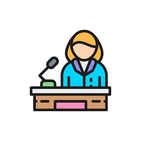 Orator, woman behind the podium, female politician flat color line icon.