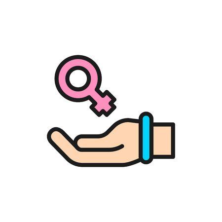 Hand with female symbol, women support, feminism flat color line icon. Ilustração