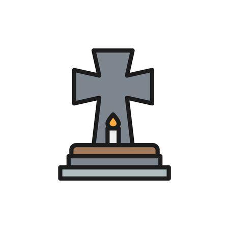 Oggetto contrassegnato per la rimozione definitiva con candela, tomba, lapidi icona linea a colori piatta.