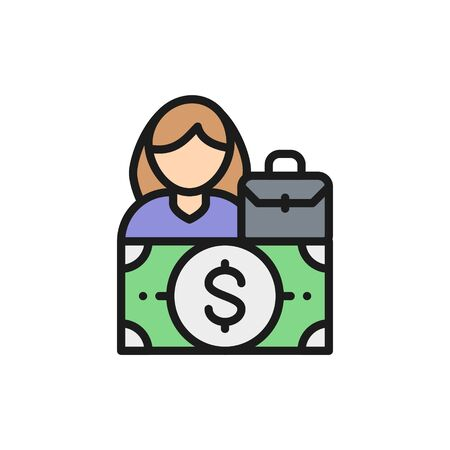 Woman salary, gender gap, female equality flat color line icon. Ilustração