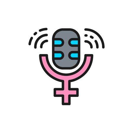 Vector microphone with gender female symbol, public speech flat color line icon. Sign illustration design. Isolated on white background