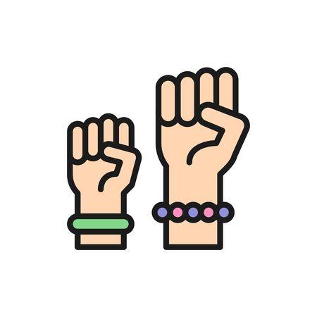Feminism protest symbol, women power flat color line icon.