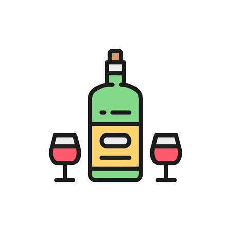 French wine, alcohol, holidays drink flat color line icon.