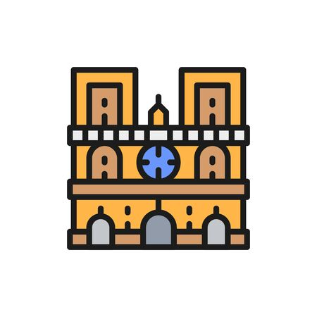Notre Dame Cathedral, landmark of Paris, France flat color line icon. Vectores
