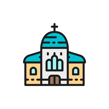 Church, cathedral flat color line icon. Isolated on white background