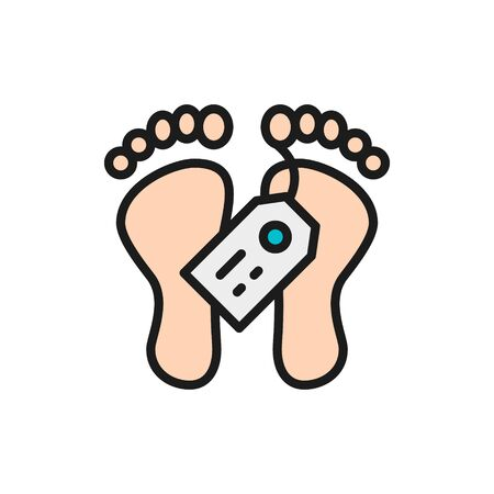 Feet with tag, morgue, dead body flat color line icon. Ilustracja