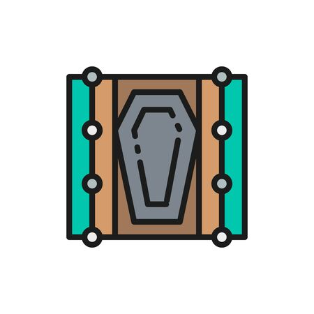 Vector coffin in the grave flat color line icon. Ilustrace