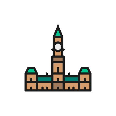 Parliament Hill, Ottawa flat color line icon.