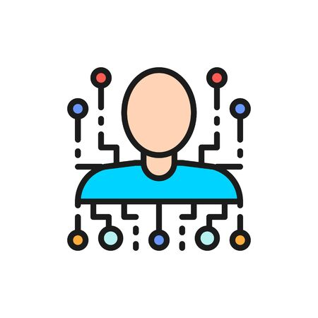 Cyber person, robot, artificial intelligence flat color line icon.