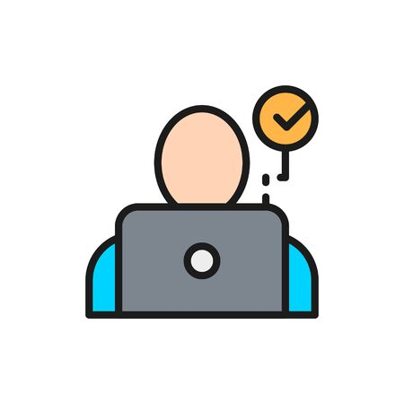 Face verification for laptop, face scans for notebook flat color line icon.