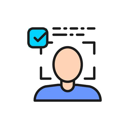 Person identified, face identification flat color line icon.