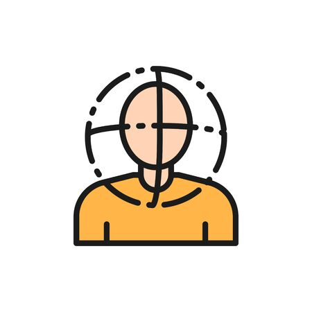 Person scanning, face verification, 360 degrees view flat color line icon.