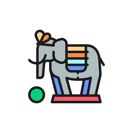 Vector elephant, circus animal show flat color line icon.