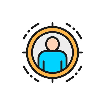 Man in target scope, identity check flat color line icon.