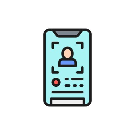 Face verification on a smartphone, face identification phone color line icon.