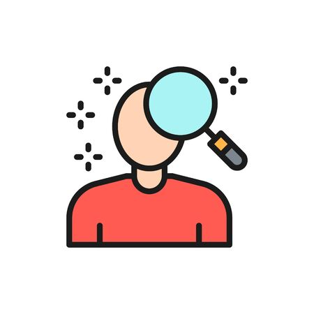 Vector person search, face verification flat color line icon. Symbol and sign illustration design. Isolated on white background