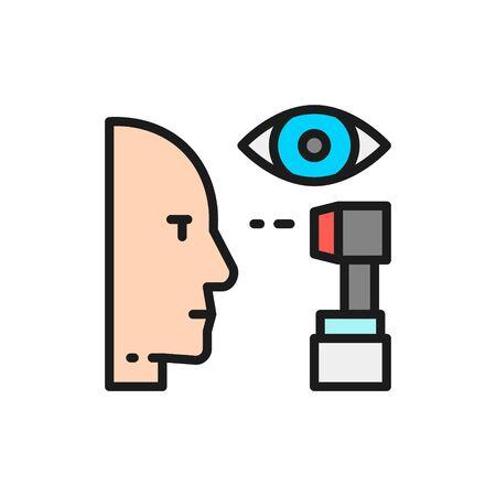 Vector eye verification, eye scanning flat color line icon. Symbol and sign illustration design. Isolated on white background