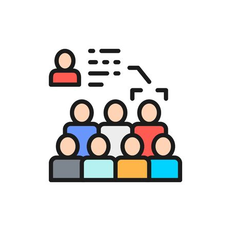Vector face recognition in the crowd, face identification flat color line icon. Symbol and sign illustration design. Isolated on white background Illusztráció