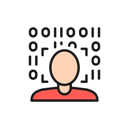 Biometric face verification scan color line icon. Illusztráció