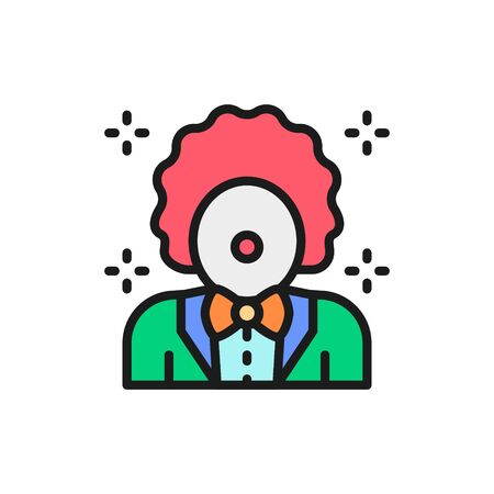 Vector clown, animator in circus flat color line icon.