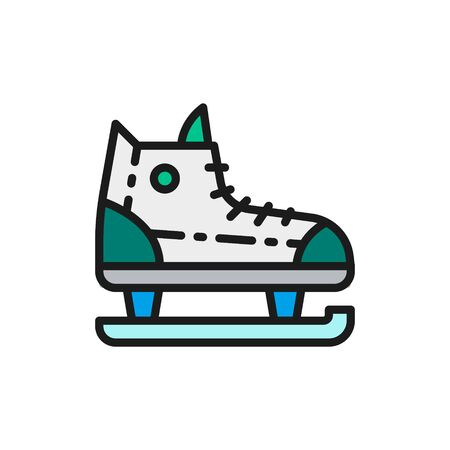 Skates, sports equipment flat color line icon.