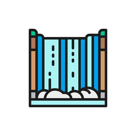 Niagara Falls, waterfall flat color line icon.