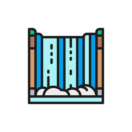 Niagara Falls, waterfall flat color line icon. 版權商用圖片 - 137934088