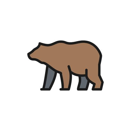 Vector grizzly bear flat color line icon.