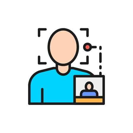 Face search by photo, biometric identification flat color line icon.