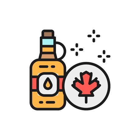 Vector bottle of maple syrup flat color line icon. 일러스트
