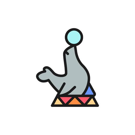 Fur seal, circus animal show flat color line icon.