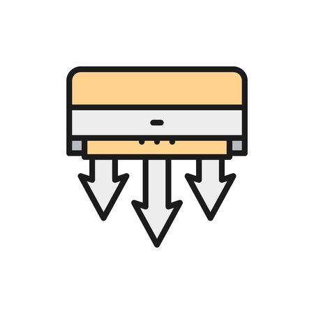 Air conditioning, fresh air clearing flat color line icon.