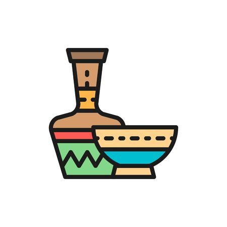 African ethnic pottery, bowl, jug flat color line icon.