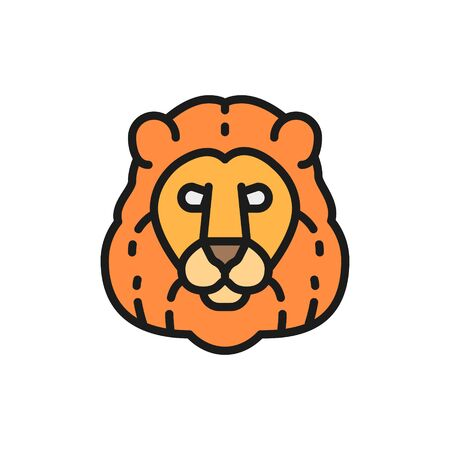 Vector lion, wild cat head flat color line icon.