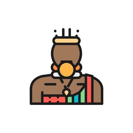 Vector african man, Bushman, Mursi flat color line icon.