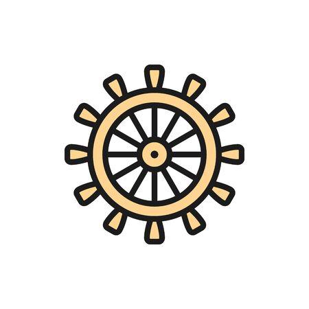 Ship steering wheel, rudder, helm flat color line icon.