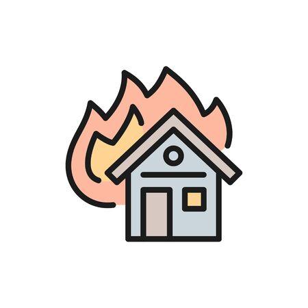 Casa in fiamme vettoriale, icona della linea di colore piatta dell'assicurazione antincendio. Simbolo e disegno dell'illustrazione del segno. Isolato su sfondo bianco