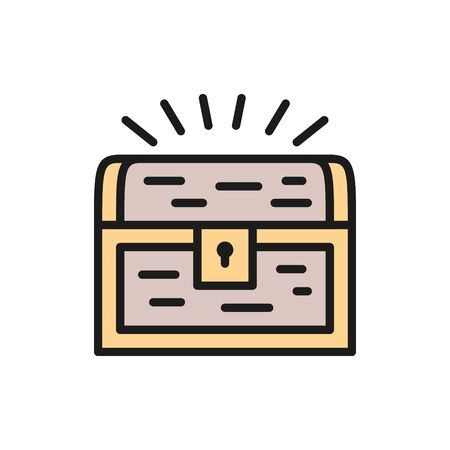 Vector treasure chest flat color line icon. Symbol and sign illustration design. Isolated on white background