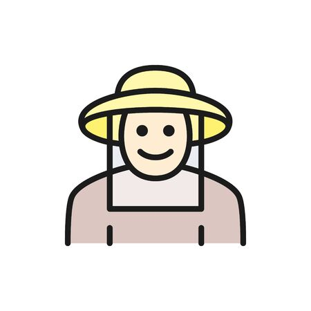 Vector beekeeper in protective clothing flat color line icon. Symbol and sign illustration design. Isolated on white background