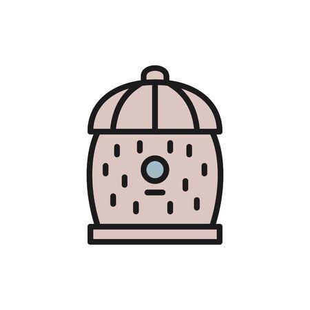 Bee hive, beehive flat color line icon. Ilustração