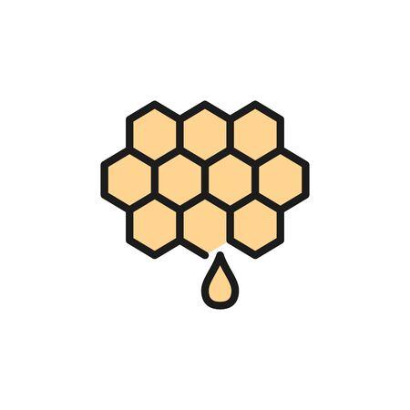 Honey, beekeeping flat color line icon. Isolated on white background Ilustração
