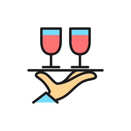 Vector hand holds two glasses flat color line icon. Symbol and sign illustration design. Isolated on white background Ilustrace