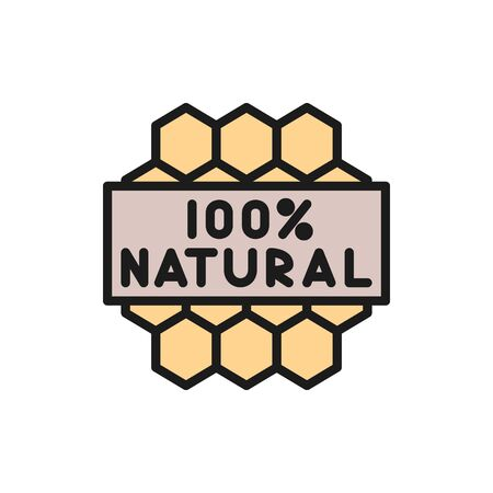 Vector honeycombs, natural honey product flat color line icon. Symbol and sign illustration design. Isolated on white background