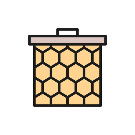 Vector honeycomb frame flat color line icon. Symbol and sign illustration design. Isolated on white background