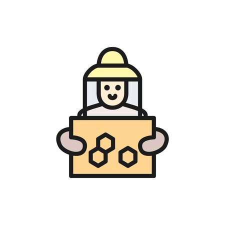Vector beekeeper with honeycomb frame flat color line icon. Symbol and sign illustration design. Isolated on white background