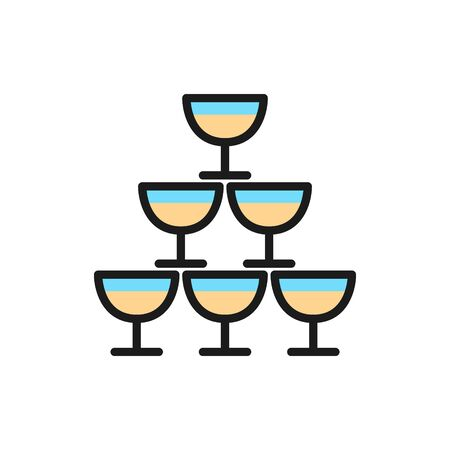 Vector pyramid of glass goblets flat color line icon. Symbol and sign illustration design. Isolated on white background