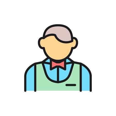 Vector waiter, bartender, sommelier flat color line icon. Symbol and sign illustration design. Isolated on white background