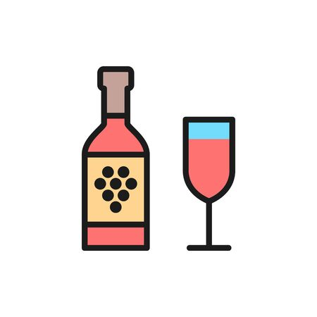 Vector bottle of wine with glass flat color line icon. Symbol and sign illustration design. Isolated on white background